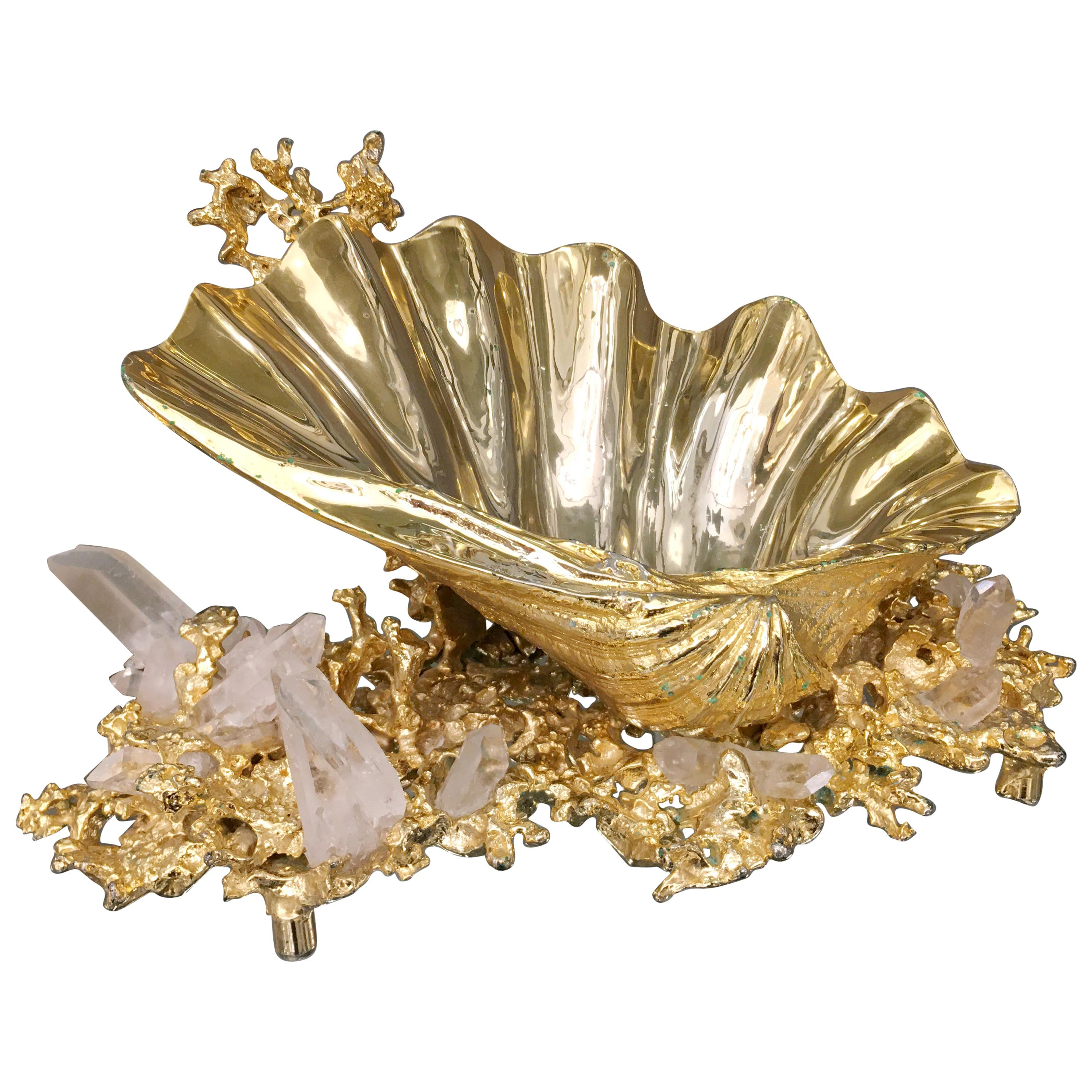 Centerpiece in Gilded Bronze and Rock Crystal, Claude Victor Boeltz France, 1970