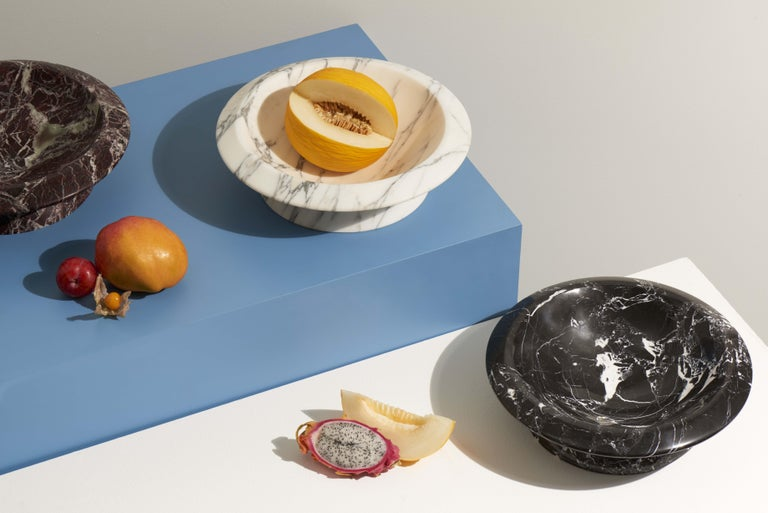 Modern Centerpiece in Red Levanto Marble by Ivan Colominas, Made in Italy in Stock For Sale