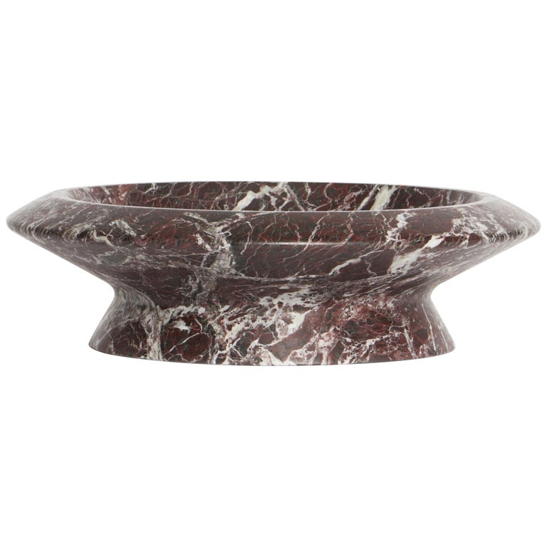 Centerpiece in Red Levanto Marble by Ivan Colominas, Made in Italy in Stock For Sale