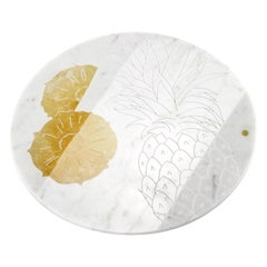 Centerpiece, Serving Plate in Carrara Marble and Honey Onyx by Pieruga Marble