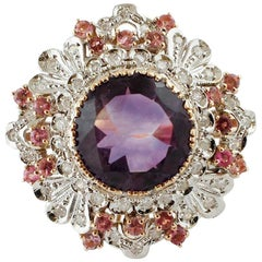Central Amethyst, Diamonds, Tourmaline, White& Rose Gold Ring