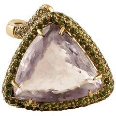 Central Amethyst, Diamonds, Tsavorites, 14 Karat Rose Gold Ring