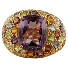 Central Amethyst, Diamonds, Tsavorite, Garnets, Topazes, 14k Yellow Gold Ring