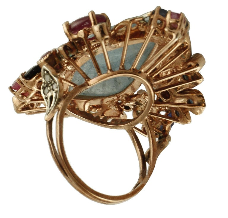 Central Aquamarine Diamonds, Rubies, Blue Sapphires 9 Karat Gold and Silver Ring In Excellent Condition For Sale In Marcianise, Caserta