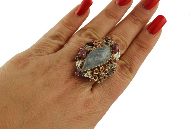 Women's Central Aquamarine Diamonds, Rubies, Blue Sapphires 9 Karat Gold and Silver Ring For Sale