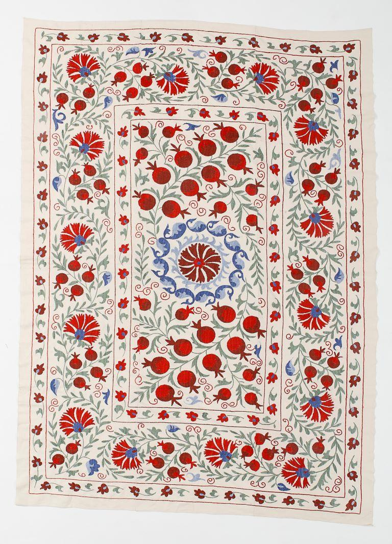 Uzbek Central Asian Suzani Textile. Embroidered Cotton & Silk Bed Cover, Wall Hanging
