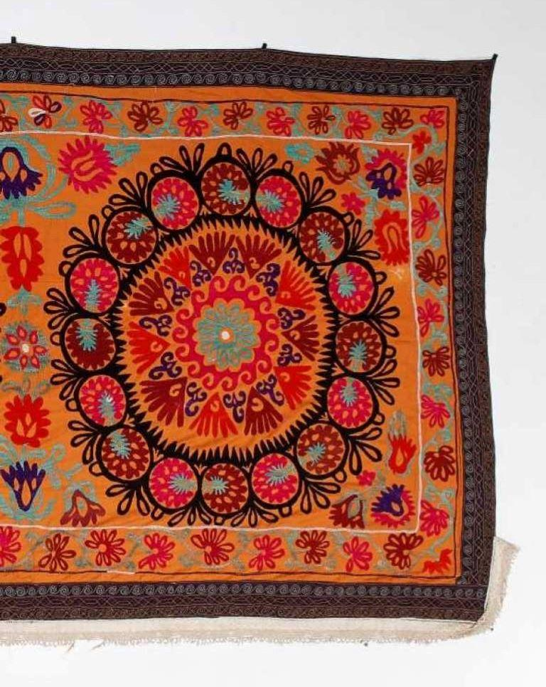 Uzbek Central Asian Suzani Textile, Embroidered Cotton and Silk Bed Cover For Sale