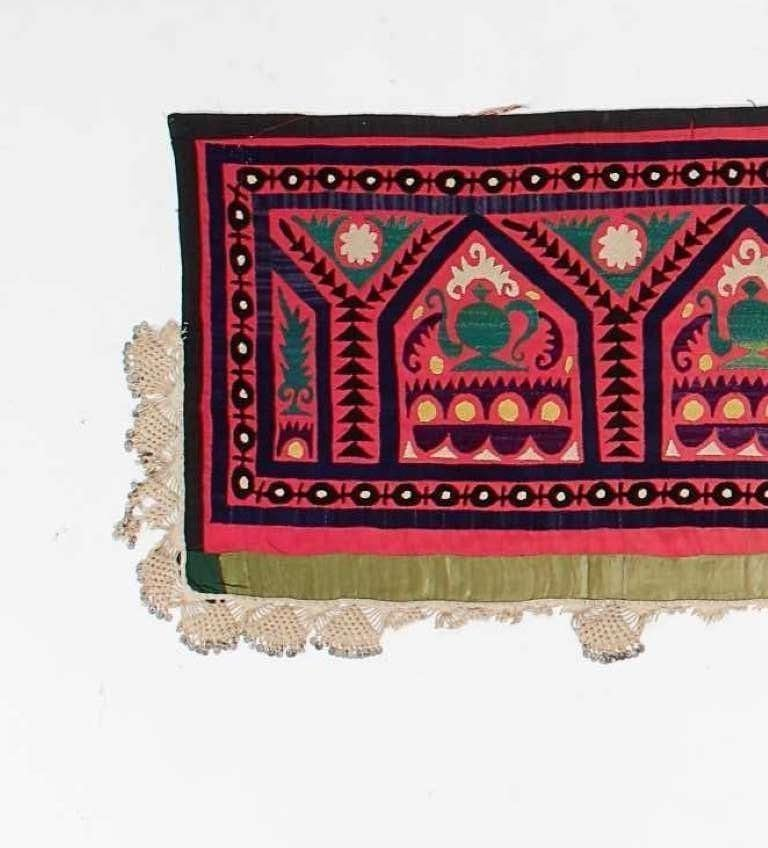 Uzbek Vintage Central Asian Suzani Textile, Embroidered Silk and Cotton  Wall Hanging For Sale