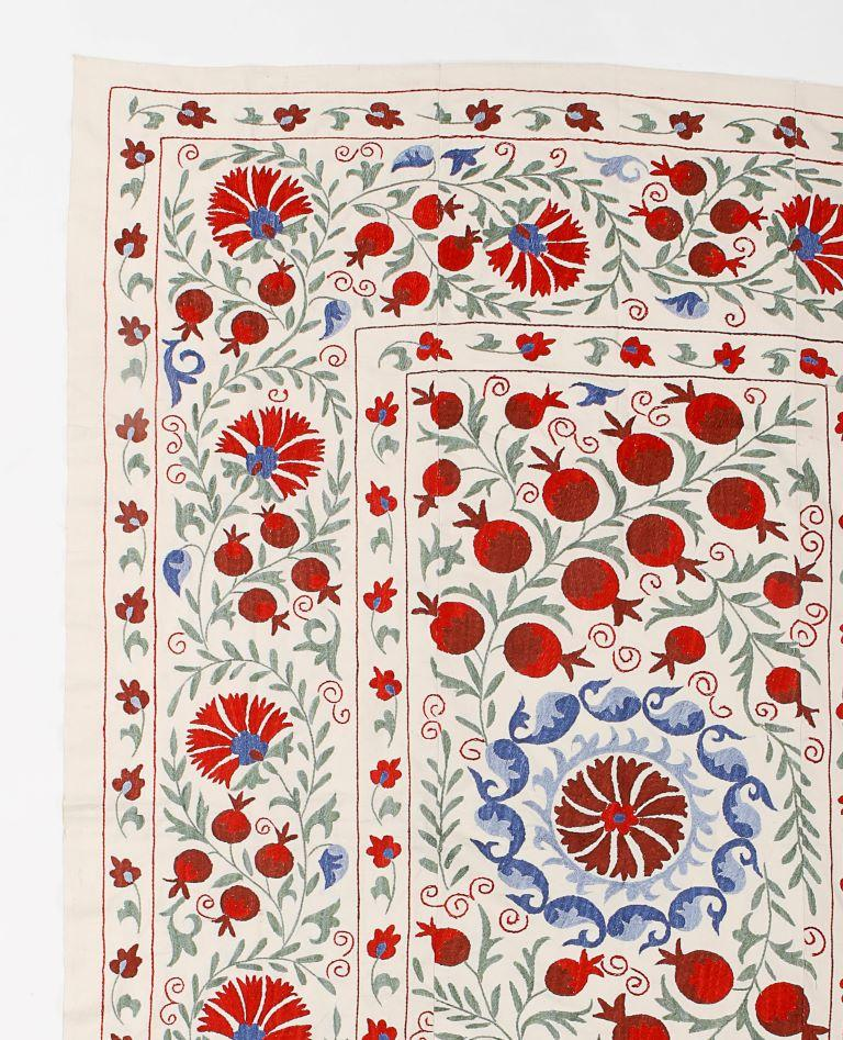 Central Asian Suzani Textile. Embroidered Cotton & Silk Bed Cover, Wall Hanging In Good Condition In Philadelphia, PA