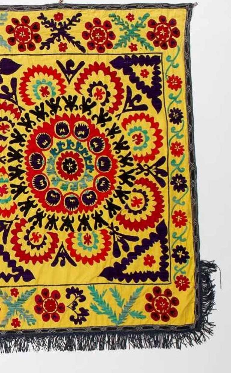 Central Asian Suzani Textile. Embroidered Cotton & Silk Bed Cover, Wall Hanging In Good Condition For Sale In Philadelphia, PA