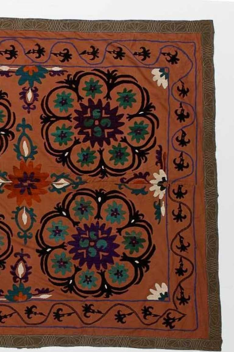 Central Asian Suzani Textile, Embroidered Cotton and Silk Bed Cover In Good Condition For Sale In Philadelphia, PA