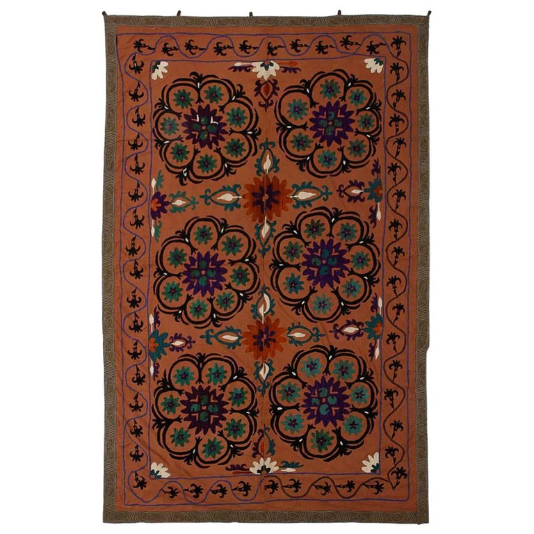 Central Asian Suzani Textile, Embroidered Cotton and Silk Bed Cover For Sale