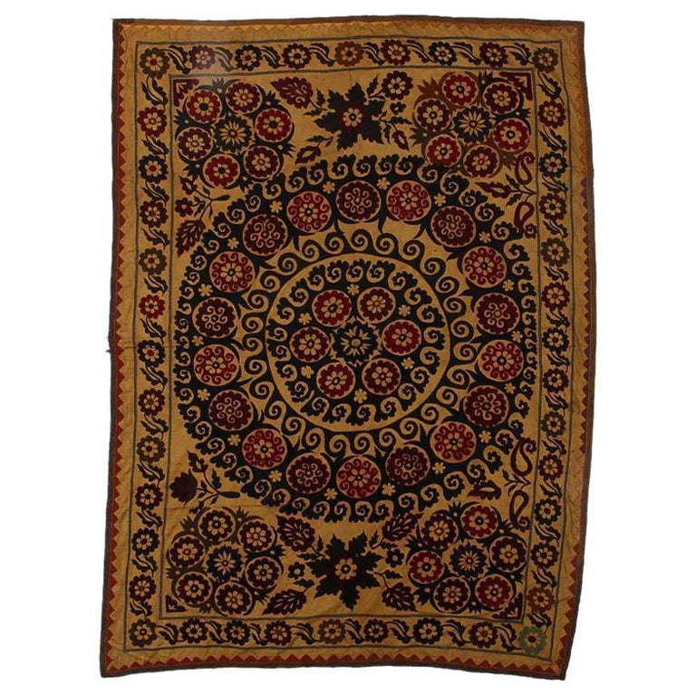 Central Asian Suzani Textile. Embroidered Cotton & Silk Bed Cover, Wall Hanging For Sale