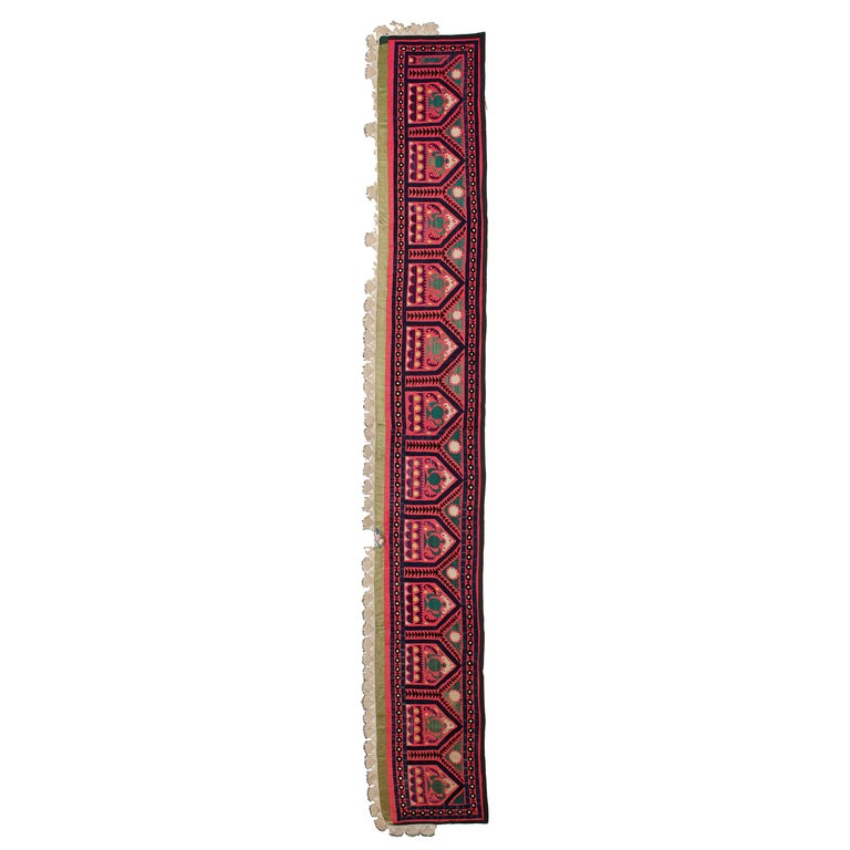 Vintage Central Asian Suzani Textile, Embroidered Silk and Cotton  Wall Hanging For Sale