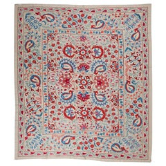 Large C. Asian Suzani Textile. 100% Silk Embroidered Bed Cover - Wall hanging