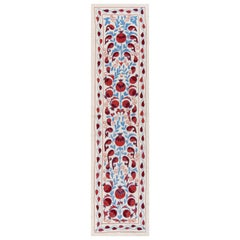 1.7x6.3 Ft Central Asian Suzani Textile, Embroidered Cotton & Silk Wall Hanging