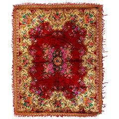 6.3x7.6 Ft Vintage Floral Moldovan Velvet Table Cover with Crochet Border