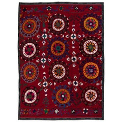 6.4x8.4 Ft Central Asian Suzani Textile, Embroidered Cotton & Silk Wall Hanging