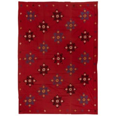 6.7x8.7 Ft Central Asian Suzani Textile, Embroidered Cotton & Silk Wall Hanging