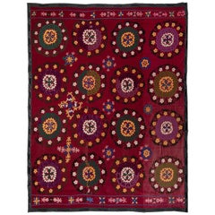 6.8x7.8 Ft Central Asian Suzani Textile, Embroidered Cotton & Silk Wall Hanging