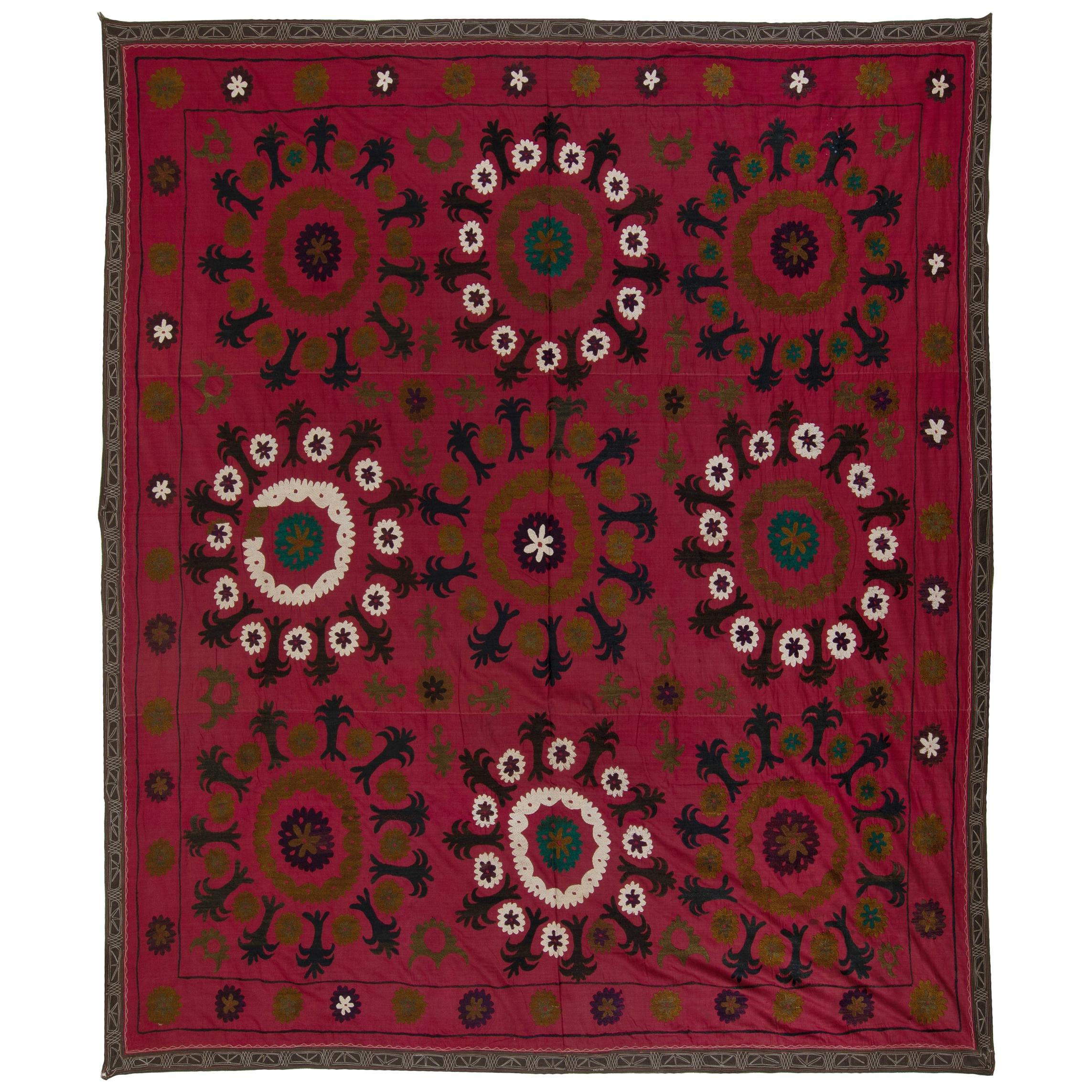 7x7.4 Ft Central Asian Suzani Textile, Embroidered Cotton & Silk Wall Hanging
