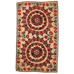 Central Asian Suzani Textile, Embroidered Cotton & Silk Wall Hanging