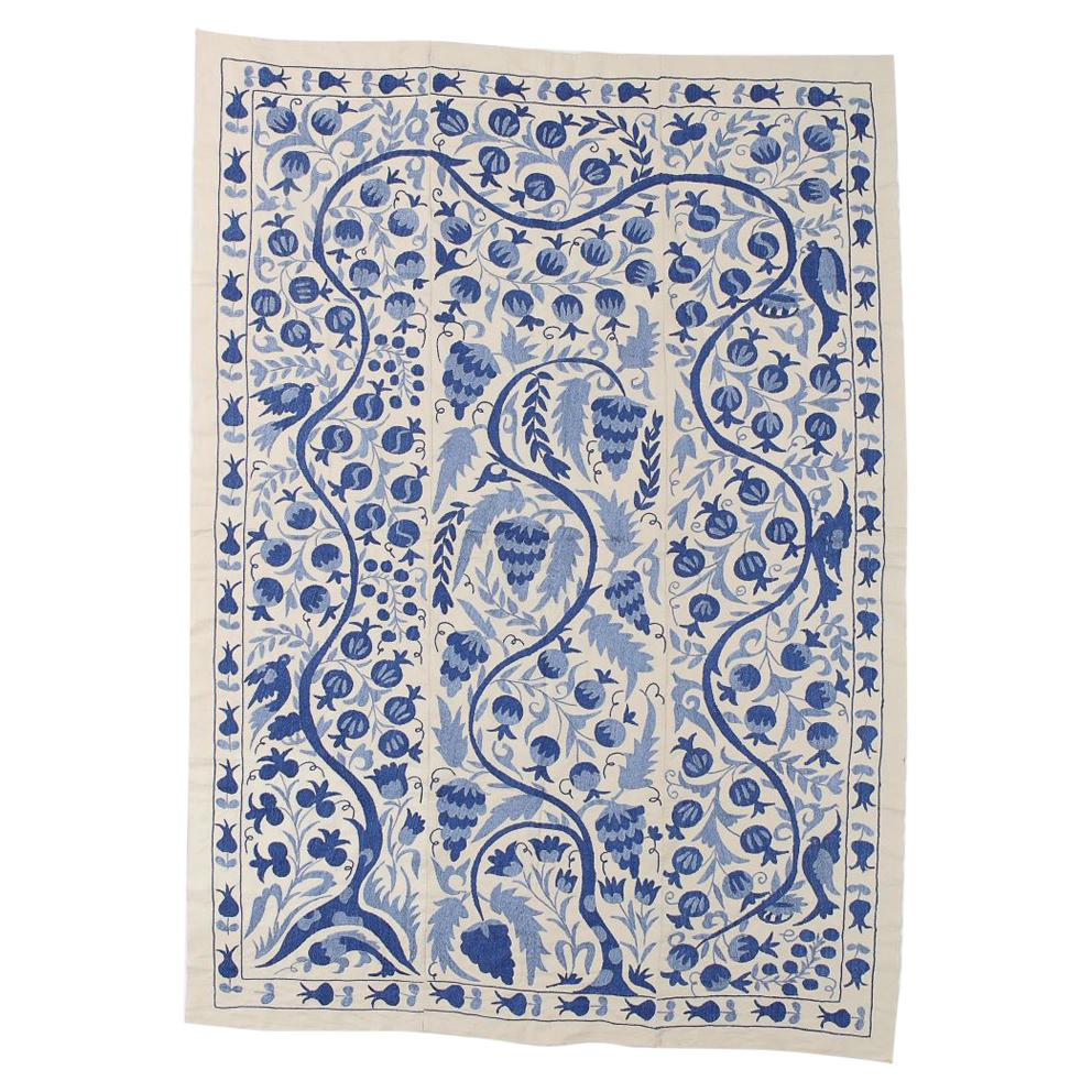 Central Asian Suzani Textile. Embroidered Cotton & Silk Bed Cover, Wall Hanging