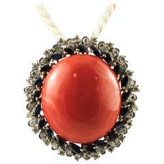 Red Coral Button, Diamonds, Blue Sapphires, 14 Karat White Gold Pendant Necklace
