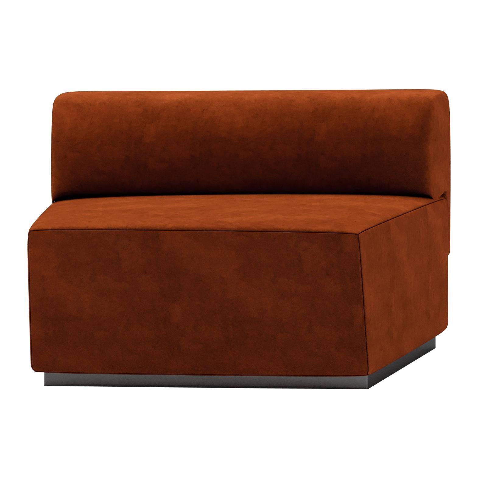 Central Element Contemporary Modular Sofa by Fabio Arcaini Settee Velvet