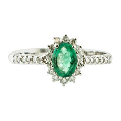 Central Emerald, Diamonds, 18 Karat White Gold Ring