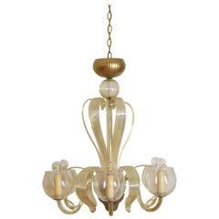 Central European Late Art Deco Period Blown Glass 6-Light Chandelier