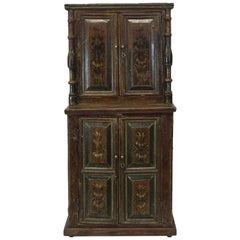 Central European Painted Step Back Cupboard