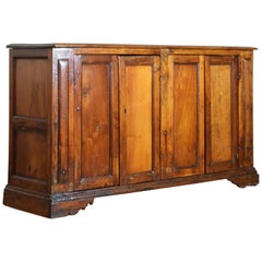 Central Italian Baroque Revival Light Walnut 4-Door Credenza, 19th Century