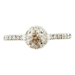 Central Light Fancy Diamond, Diamonds, 18 Karat Gold Solitaire/Engagement Ring