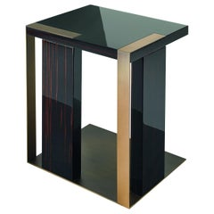 Central or Side Table in Ebony Finish Decorative Insert in Liquid Metal Finish