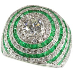 Centre Diamond .75 Carat and Emerald Platinum Cocktail Ring