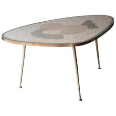 Midcentury Modern Curved Gold Green Brass Tessera Italian Centre Table, 1960