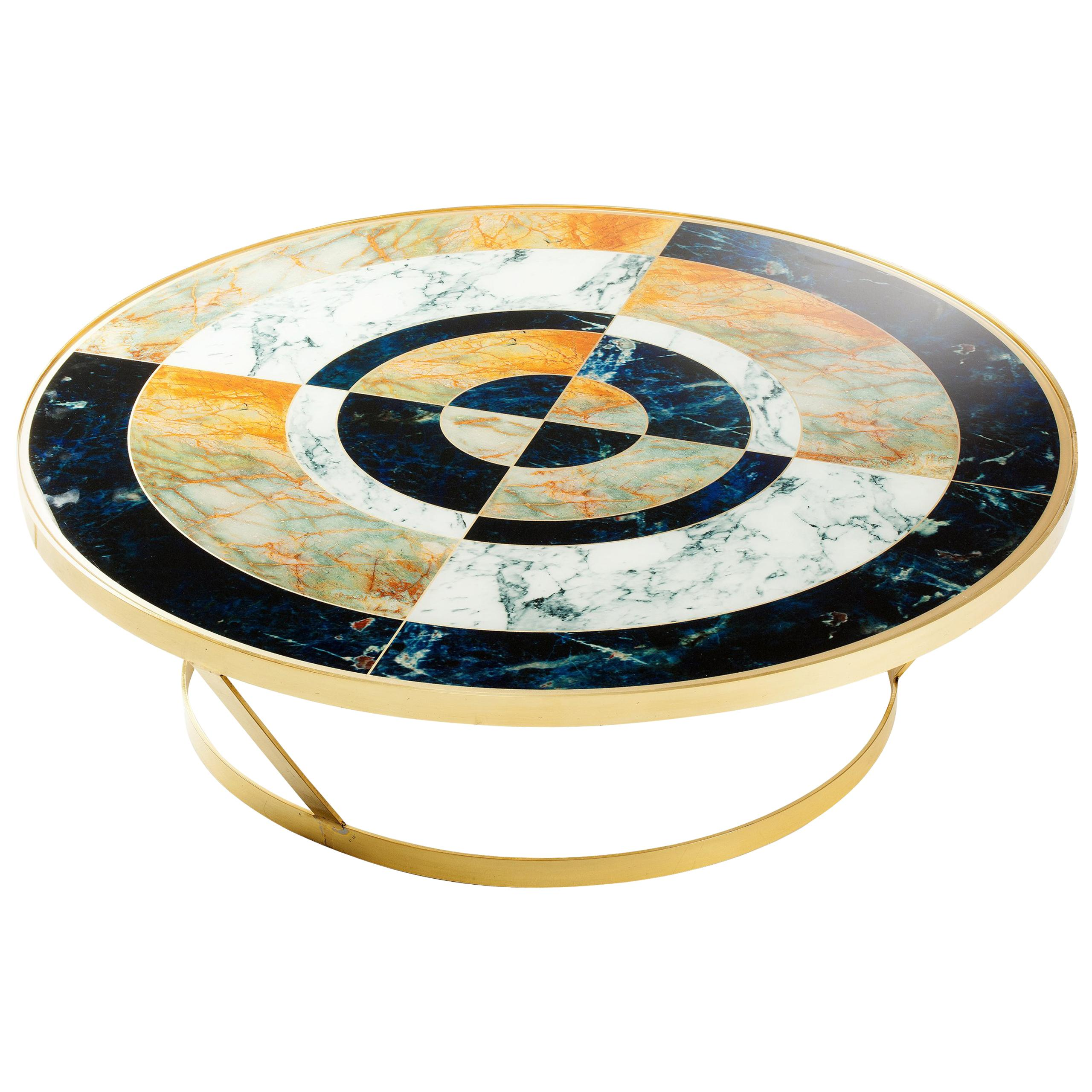 Centre Table in Brass and Printed designed glass York