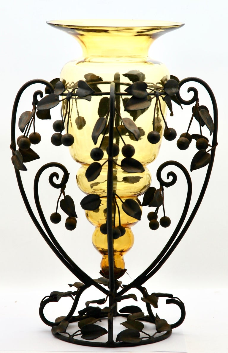 Centrepiece Glass vase & Wrought Metal with Organic Branches, Leaves & Cherries For Sale 3