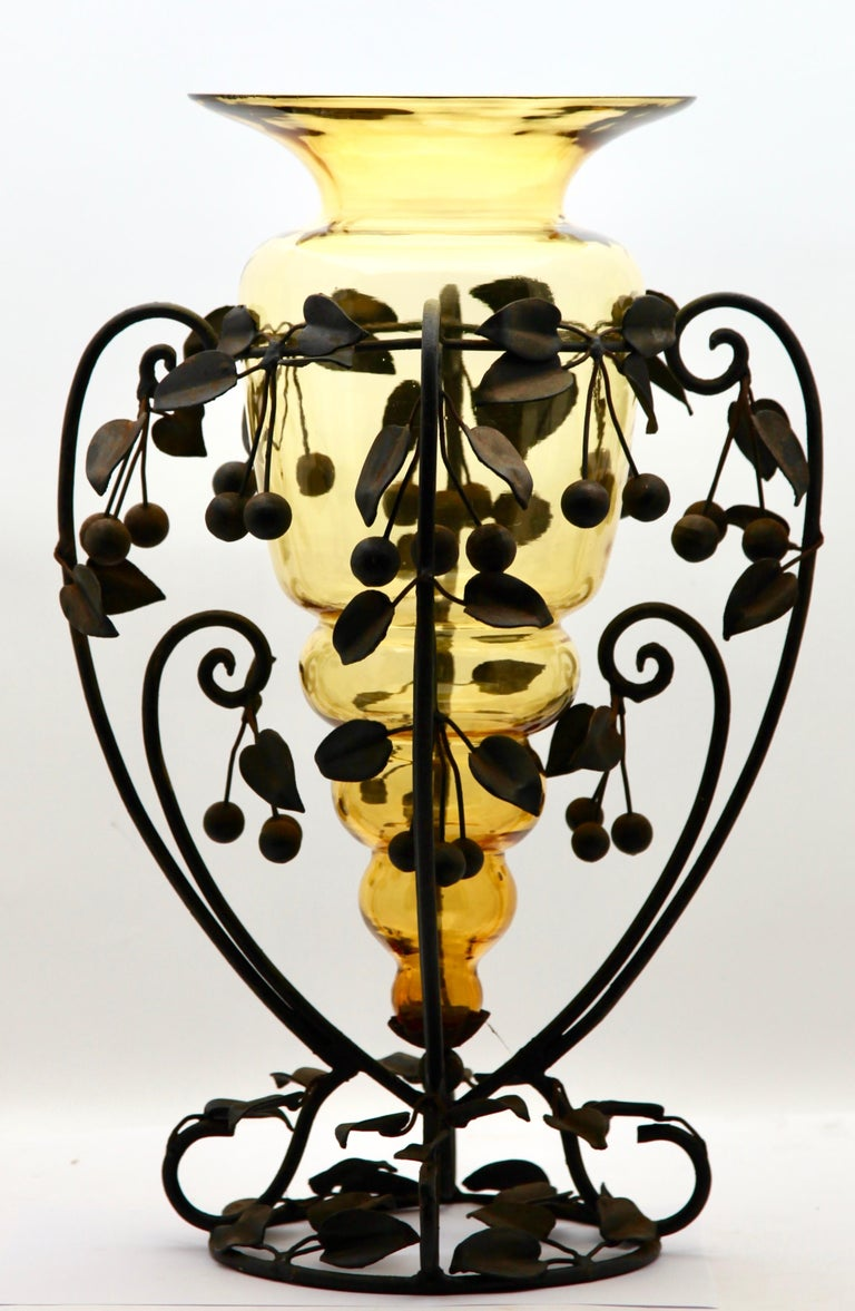 Art Nouveau Centrepiece Glass vase & Wrought Metal with Organic Branches, Leaves & Cherries For Sale