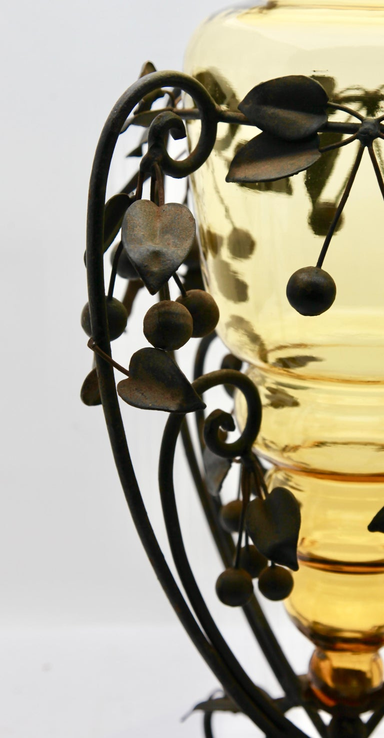 French Centrepiece Glass vase & Wrought Metal with Organic Branches, Leaves & Cherries For Sale