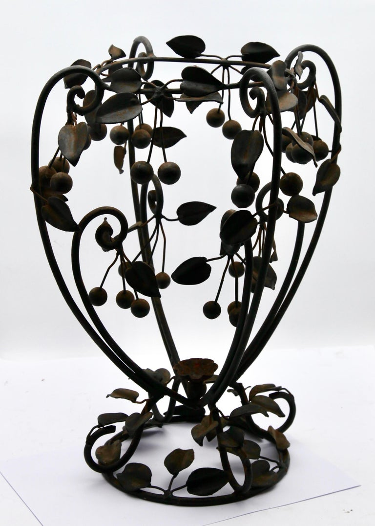 Forged Centrepiece Glass vase & Wrought Metal with Organic Branches, Leaves & Cherries For Sale