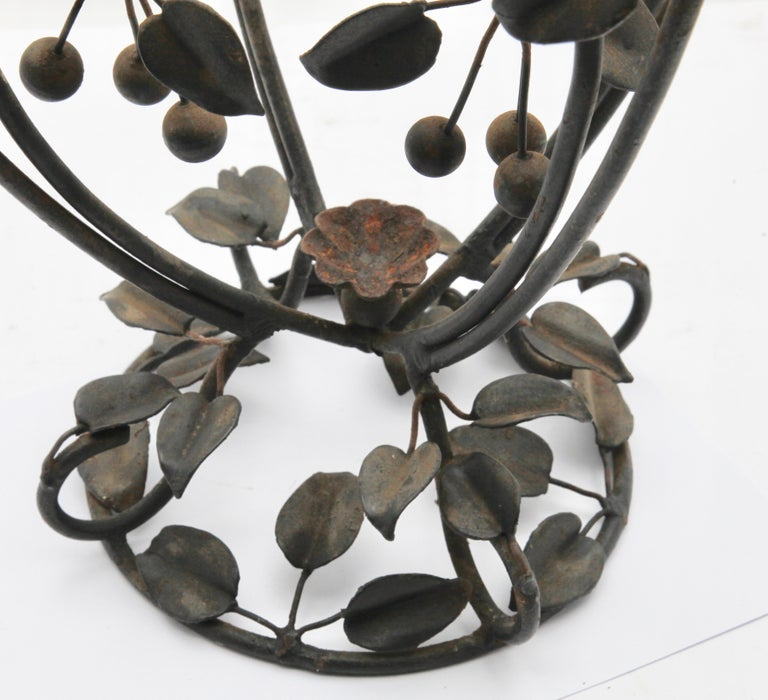 Early 20th Century Centrepiece Glass vase & Wrought Metal with Organic Branches, Leaves & Cherries For Sale