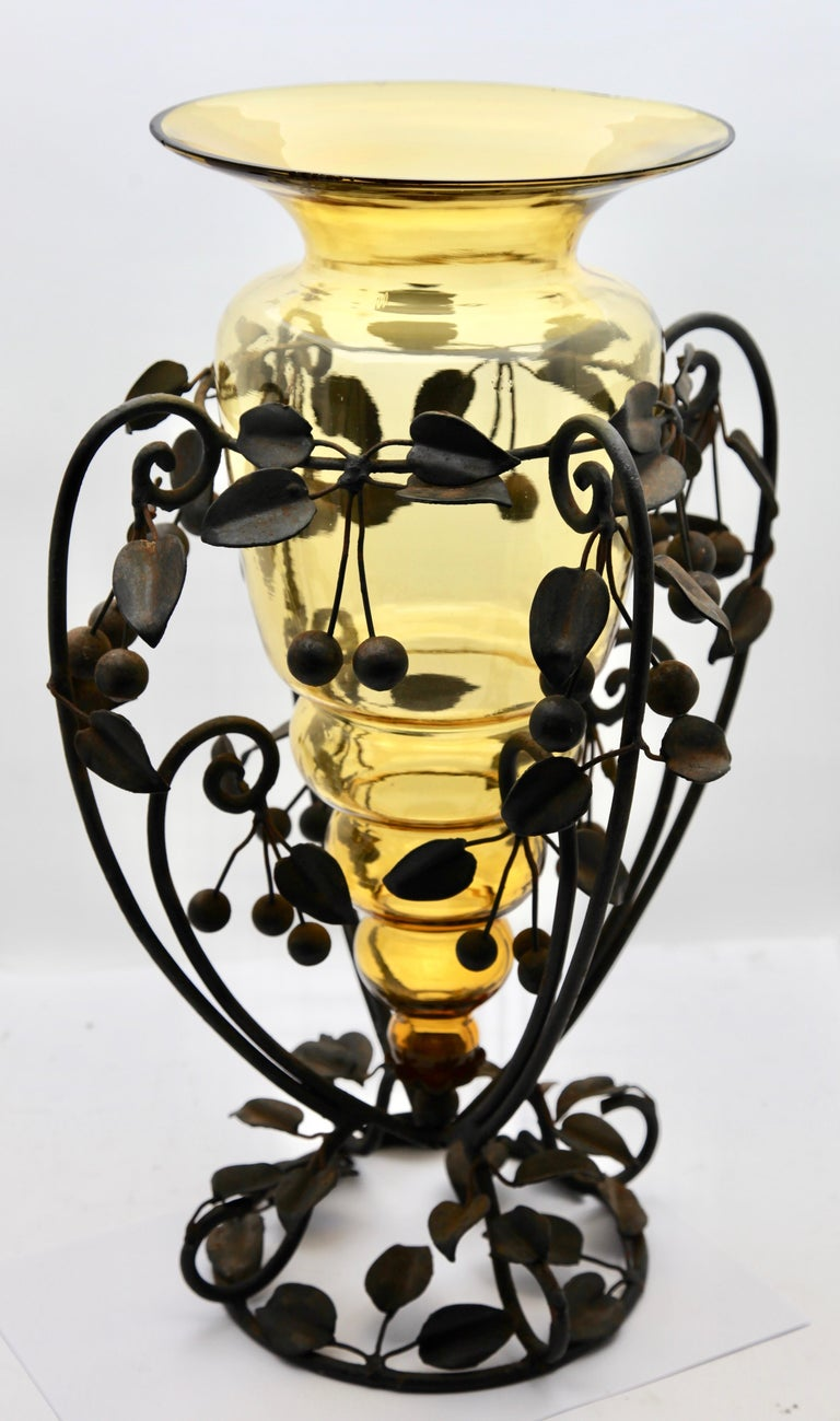 Centrepiece Glass vase & Wrought Metal with Organic Branches, Leaves & Cherries For Sale 1