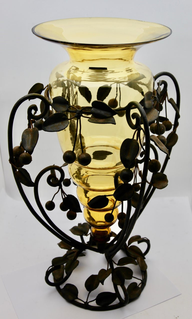 Centrepiece Glass vase & Wrought Metal with Organic Branches, Leaves & Cherries For Sale 2
