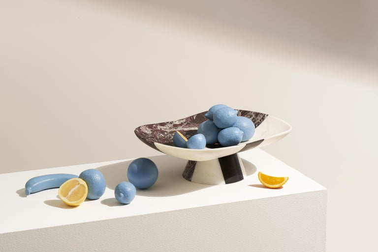 Centerpiece in three different marbles. Size: 48 x 35.6 x 14.8 cm, smooth finishing. Commercial name: Orazio, Homage Collection by the Italian Designer Matteo Cibic. Made in Italy, hand finished. White, black, red. These are not merely colours; here