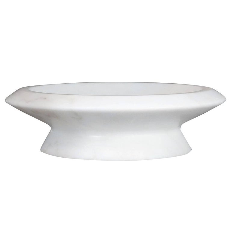 Centerpiece in White Michelangelo Marble by Ivan Colominas, Italy in Stock For Sale
