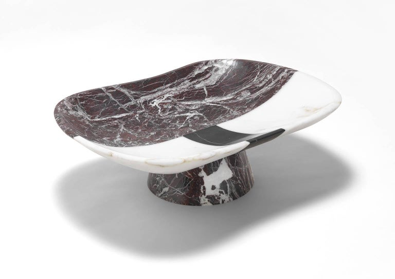 Italian Centrepiece in White, Black and Red Marble by Matteo Cibic, Italy For Sale