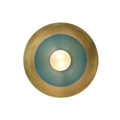 Centric Wall Sconce in Solid Brass and Teal Enamel Mesh Blueprint Lighting, 2019