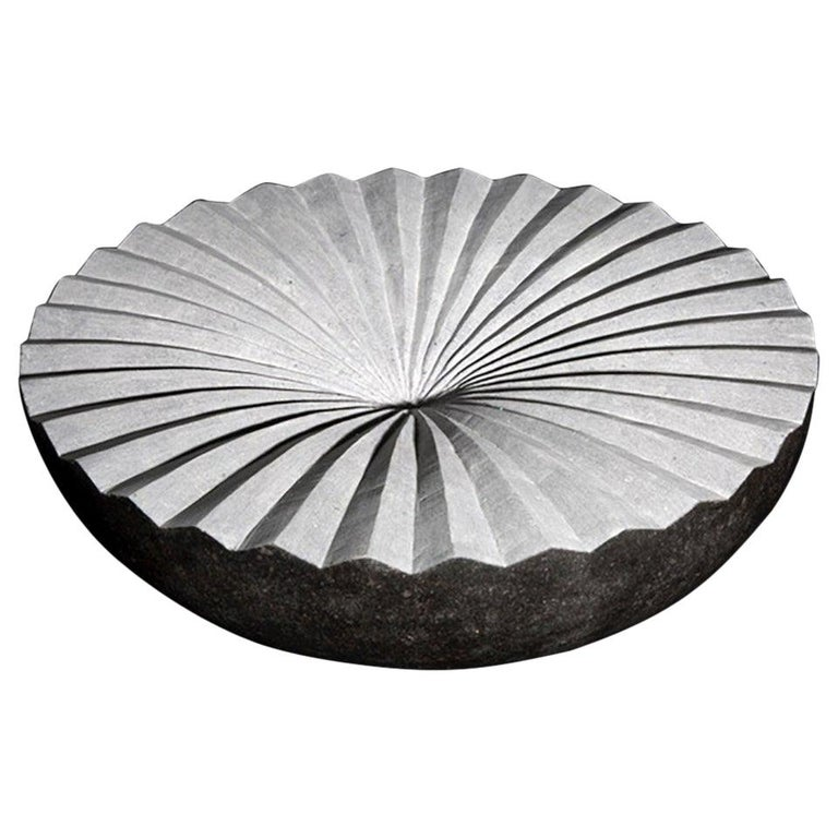 """Centrifugal"" Grey and White Limestone Sculpture by Irish Artist Helen O'Connell For Sale"